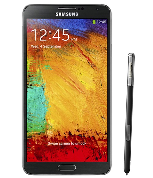 Galxy Note3 002 front with pen Jet Black