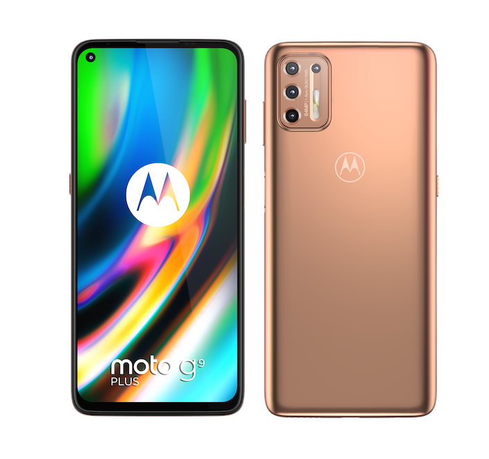 moto g9 plus BLUSH GOLD FRONT and BACK