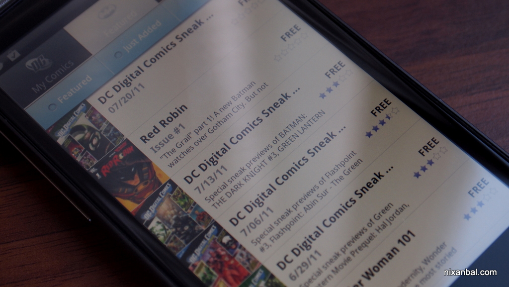 DC Comics application Android Market